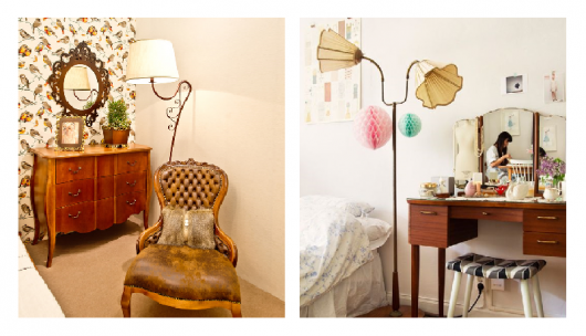 Luminarias em tons pasteis em ambiantes decorados de forma clássica.