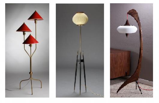 Três opções de luminária tripé em metal nas cores, vermelho, amarelinho e marrom com branco.