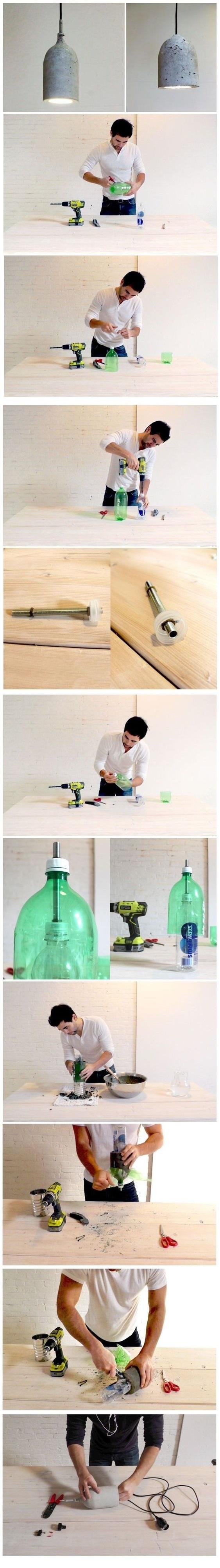 como fazer luminária de cimento