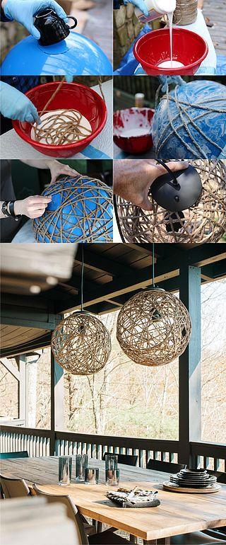 DIY luminária de barbante