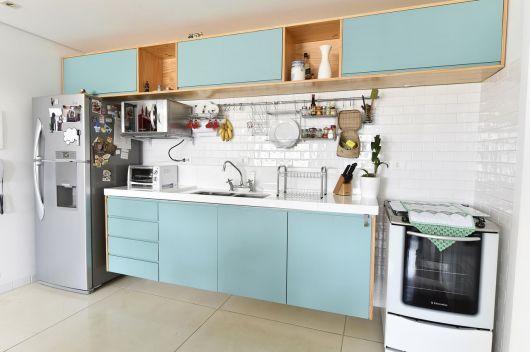 Decoração de Cozinhas simples azul bebe