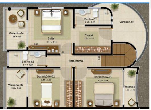 Quarto de Casal com Closet – 25 Modelos, Fotos e Projetos! -> Planta Baixa De Banheiro Com Banheira E Closet