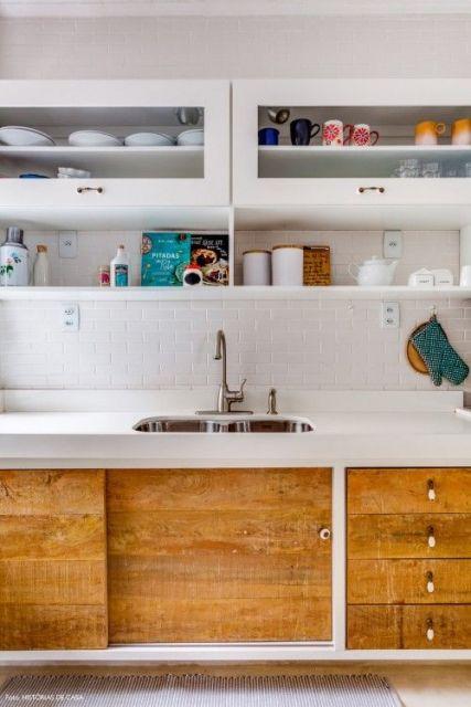 cozinha com azulejo de metrô