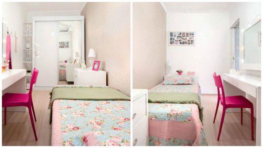 quarto feminino com cama de solteiro