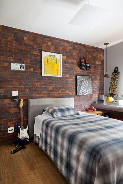 parede tijolo à vista aparente quarto