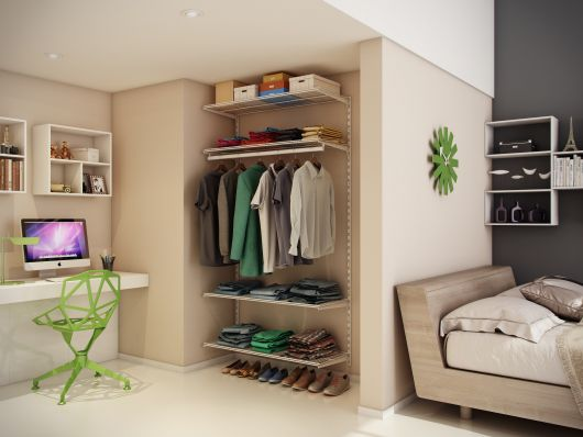 quarto de casal com closet e home office
