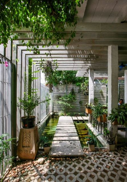 espelho d'água com caminho e jardim vertical ao redor