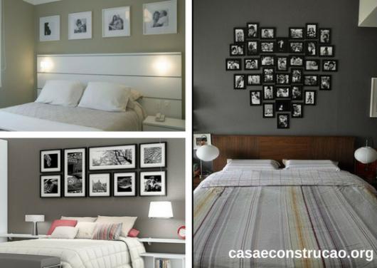 composição de quadros em preto e branco sobre camas de casal