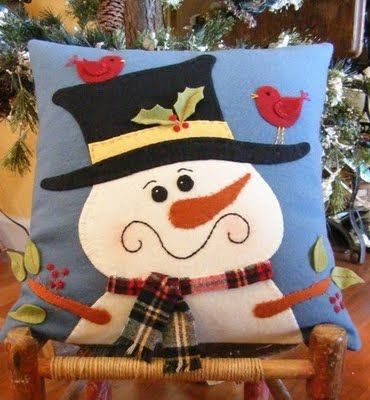 almofada decorada boneco de neve