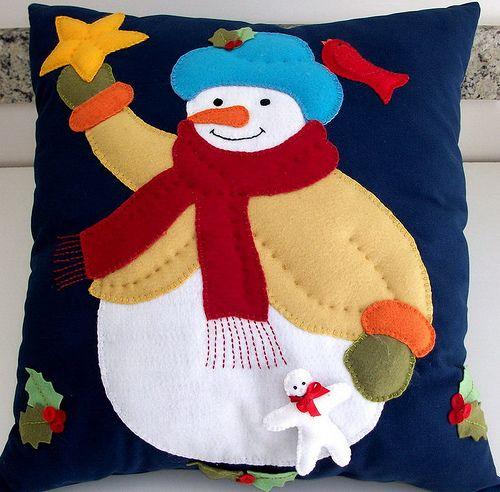almofada decorada de feltro