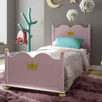 cama simples rosa