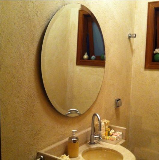 lavabo com espelho redondo