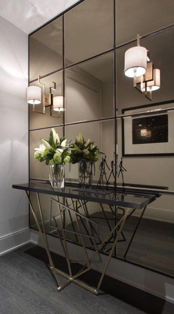 parede de espelhos cobre
