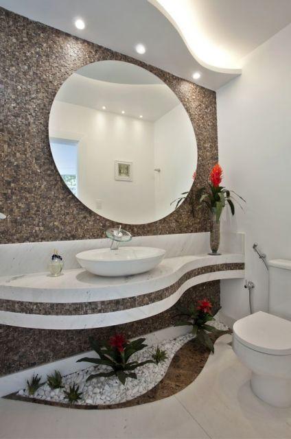 lavabo com jardim interno