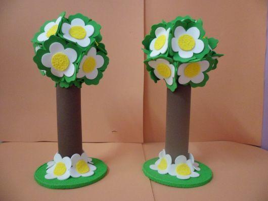 árvores de EVA para maquete com flores grandes
