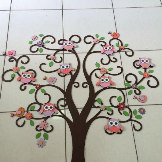 árvore de EVA para painel com corujas