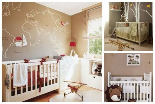 Montagem com 3 exemplos de quartos com a cor marrom.