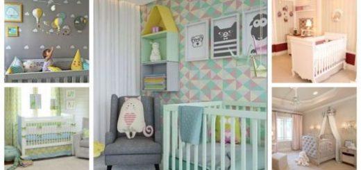 Montagem com cinco exemplos de cores para Quarto de Bebê.