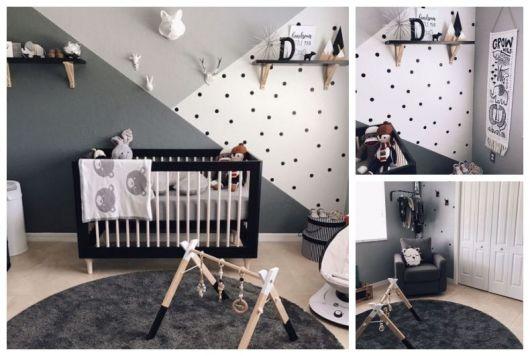 Montagem mostrando quarto que utiliza a cor preta.