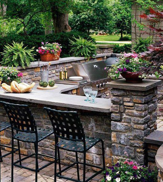 cozinha externa de pedra