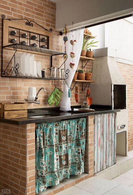 cozinha externa simples e rústica