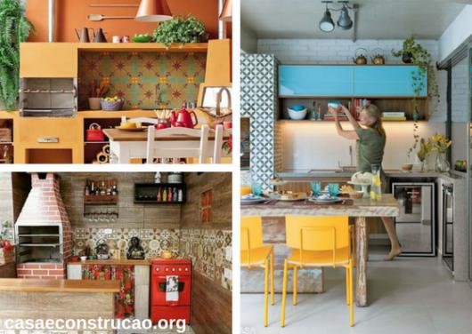 cozinhas externas com churrasqueira coloridas
