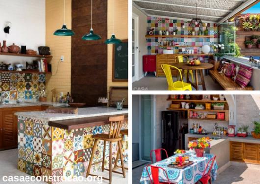 cozinhas externas simples coloridas