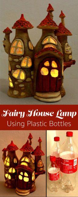 Luminária no formato de casa feita com garrafas pet.