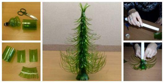 Montagem ensinando a fazer uma mini árvore de Natal com garrafa pet.