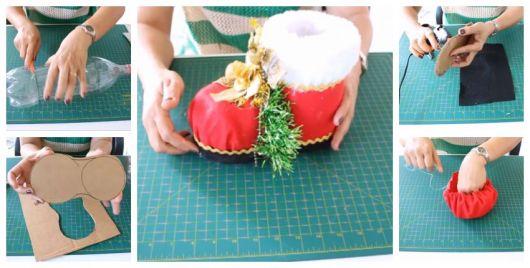 Montagem ensinando a fazer uma bota de Papai Noel com garrafa pet.