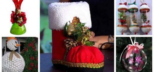 Montagem com diferentes enfeites de Natal com Garrafa Pet.