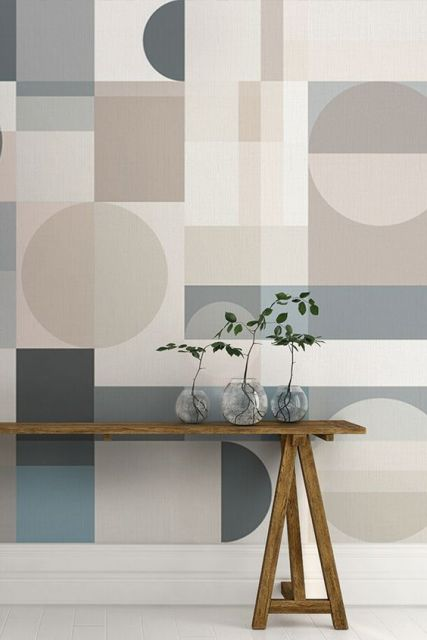 Papel de parede com círculos, quadrados e retângulos.