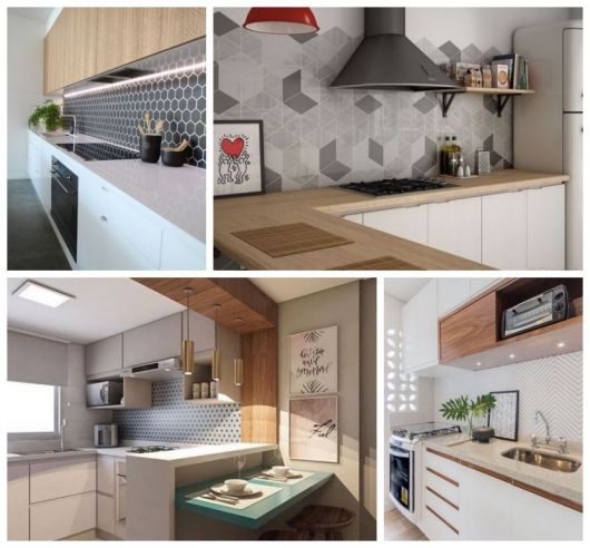 Quatro fotos de cozinhas com papéis de parede.