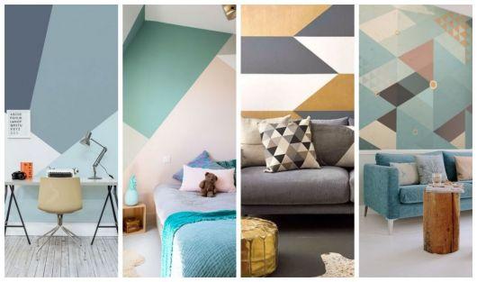 Quatro fotos com papéis de parede geométricos coloridos.