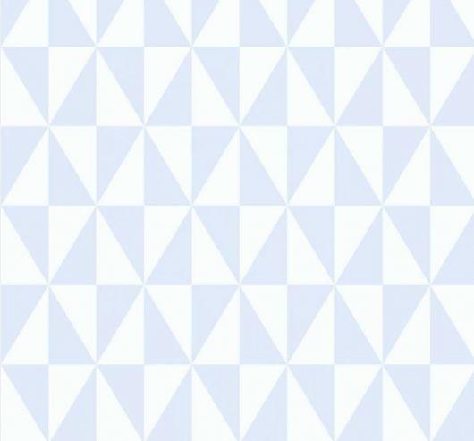 Papel de parede com triângulos brancos e azuis.