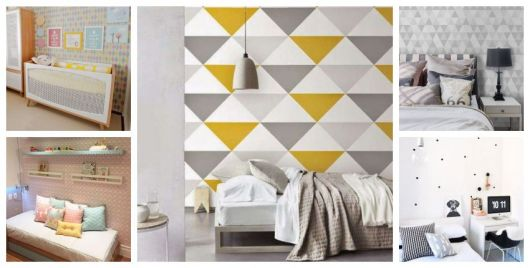 Cinco fotos com cômodos com papel de parede geométrico.
