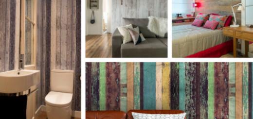 papel de parede de madeira em ambientes