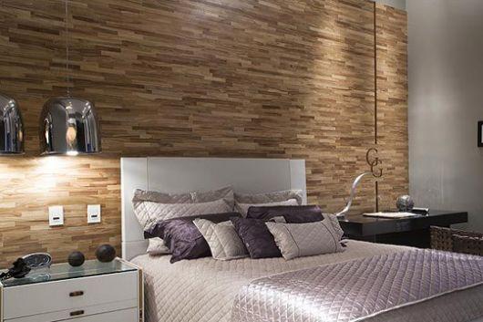 papel de parede de madeira em quarto moderno