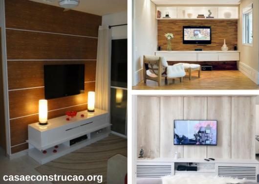 papel de parede de madeira como painel para TV