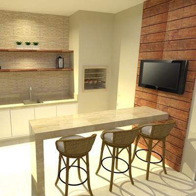 papel de parede de madeira ao redor da TV na área da churrasqueira