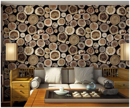 papel de parede de madeira de toras em 3D