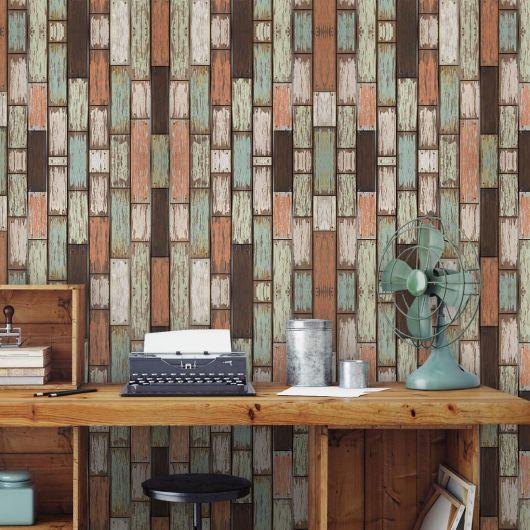 papel de parede de madeira colorido no escritório