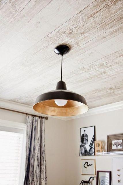 papel de parede de madeira no teto