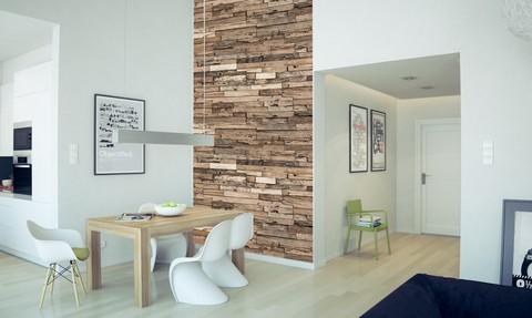 papel de parede de madeira em sala de jantar branca