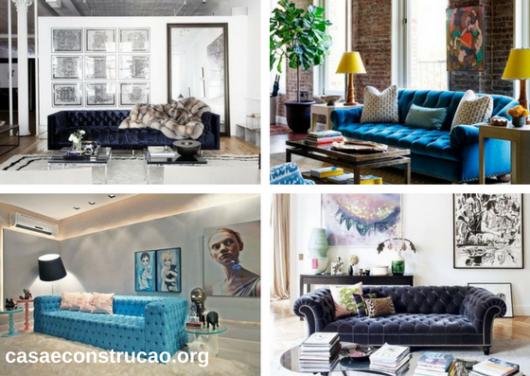 sofás de veludo azul com botões aparentes