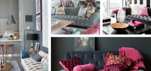 sofás de veludo cinza com botões aparentes