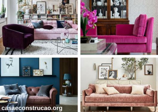 sofás de veludo rosa