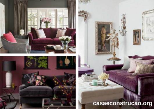 sofás de veludo roxo