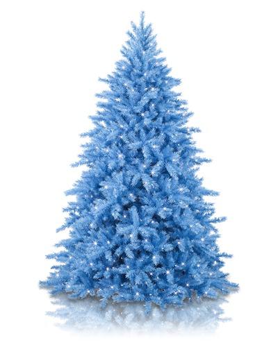 árvore de natal azul com pisca-pisca muito discreto em um fundo branco