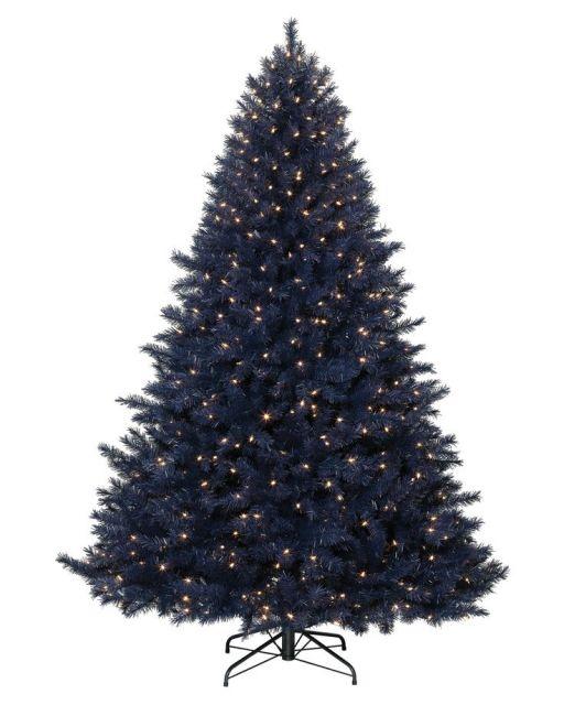 árvore de natal azul enfeitada com pisca-pisca dourado muito sútil